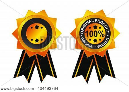 Golden Stamp Or Tag, 100 % Percent, Original Product, Star, With Black Ribbon And Blank One.