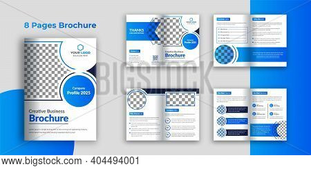 Business Bi-fold Brochure Template, 8 Pages Company Profile Brochure