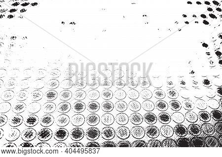 Distress Dot And Shabby Circle Overlay Texture. Empty Grunge Black And White Abstract Background. Cr