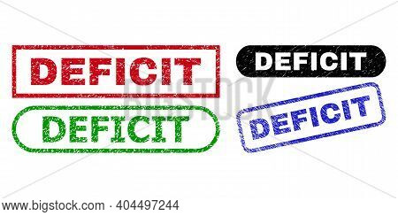 Deficit Grunge Seal Stamps. Flat Vector Grunge Seal Stamps With Deficit Title Inside Different Recta