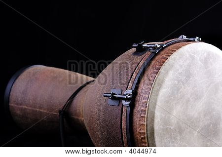 Brown Tan Djembe Isolated On Black Background