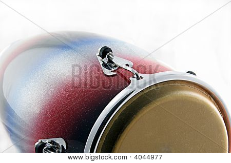 Red And Blue Conga Drum Isolated On White