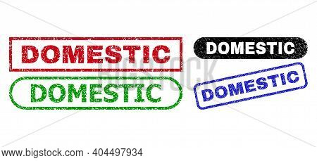 Domestic Grunge Seal Stamps. Flat Vector Textured Seal Stamps With Domestic Caption Inside Different