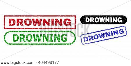 Drowning Grunge Stamps. Flat Vector Distress Stamps With Drowning Phrase Inside Different Rectangle