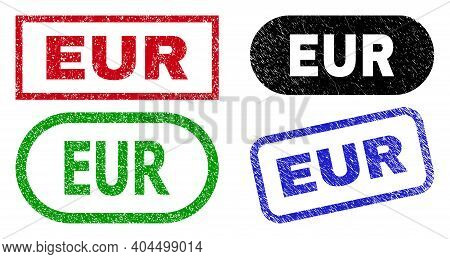 Eur Grunge Stamps. Flat Vector Grunge Seal Stamps With Eur Text Inside Different Rectangle And Round