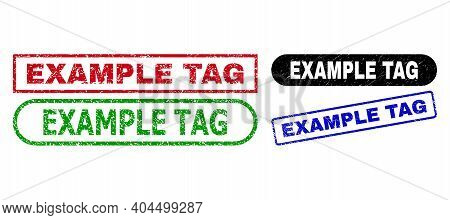 Example Tag Grunge Seals. Flat Vector Textured Seals With Example Tag Title Inside Different Rectang