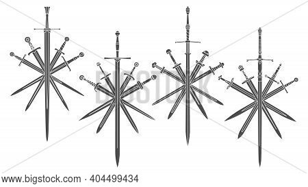 Set Of Simple Bicolor Vector Images Of Five Crossed Swords With Medieval Two-handed Sword In Center.