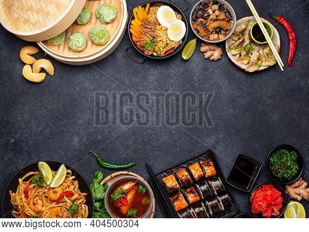 Assorted Of Different Asian Food. Chinese, Japanese And Thai Cuisine. Noodles, Dumplings Gedza, Baoz