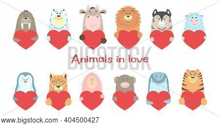 Cute Cartoon Animal Holds A Heart Sign With Copy Space. Set Valentine\'s Day Greeting Card Banner In