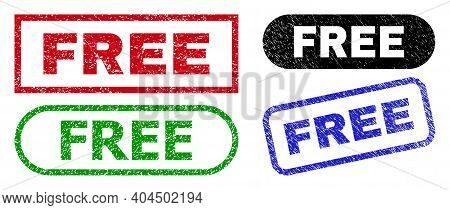 Free Grunge Seal Stamps. Flat Vector Scratched Seal Stamps With Free Title Inside Different Rectangl