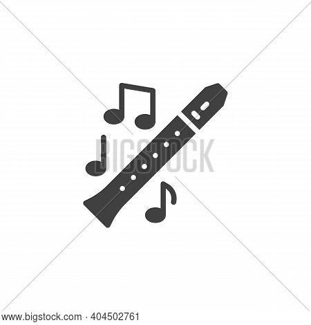 Flute Music Instrument Vector Icon. Filled Flat Sign For Mobile Concept And Web Design. Musical Note