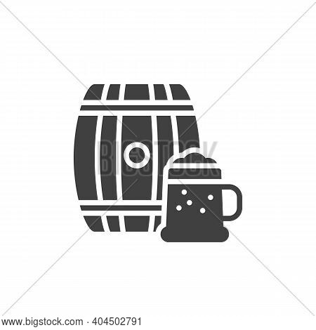 Beer Cask And Glass Vector Icon. Filled Flat Sign For Mobile Concept And Web Design. Beer Mug And Ba