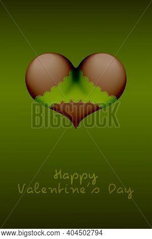 Valentines Day Heart Shaped Dark Skin Buttocks In Bikini Panties Underwear Lingerie. Valentines Day