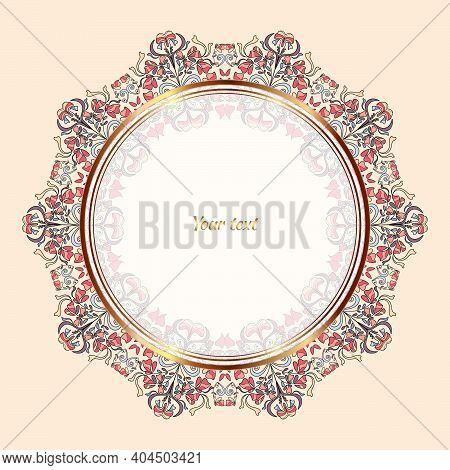 Circular Floral Ornament With Gilding. A Beautiful Circle With A Floral Pattern.