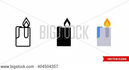 Lighter Icon Of 3 Types Color, Black And White, Outline. Isolated Vector Sign Symbol.