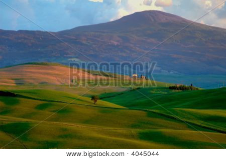 Mountains And Fields Of Wheat In Tuscany