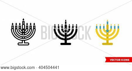 Menorah Icon Of 3 Types Color, Black And White, Outline. Isolated Vector Sign Symbol.
