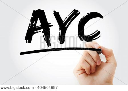 Ayc - Advance Your Career Acronym With Marker, Business Concept Background
