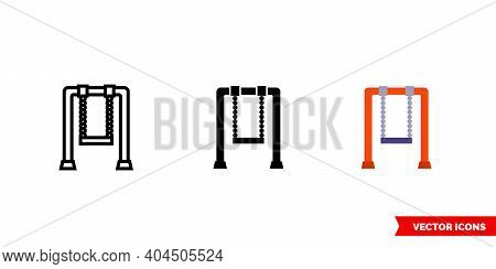 Swingset Icon Of 3 Types Color, Black And White, Outline. Isolated Vector Sign Symbol.