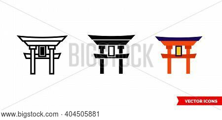 Torii Icon Of 3 Types Color, Black And White, Outline.isolated Vector Sign Symbol.