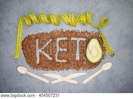 Ketogenic Diet And Healthy Eating. Diet For The Healthy Body. Keto Diet Inscription. Word And A Half