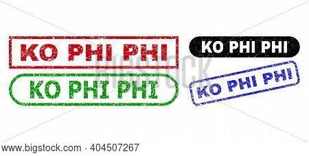 Ko Phi Grunge Stamps. Flat Vector Scratched Seal Stamps With Ko Phi Message Inside Different Rectang