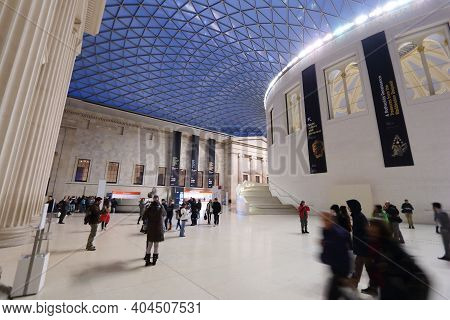 London, Uk - April 22, 2016: People Visit British Museum Great Court In London. The Museum Was Estab