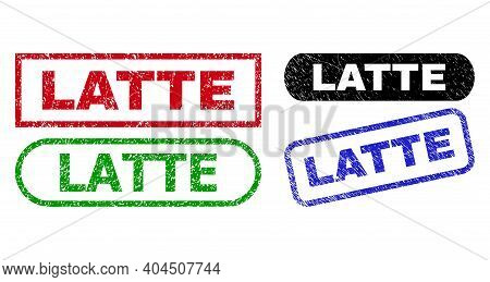 Latte Grunge Watermarks. Flat Vector Grunge Watermarks With Latte Caption Inside Different Rectangle