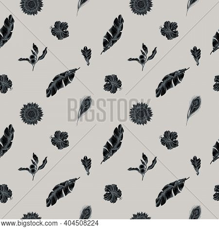 Seamless Pattern With Hand Drawn Stylized Banana Palm Leaves, Hibiscus, Solanum, Bromeliad, Peacock