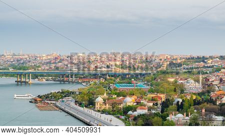 Istanbul, Turkey - April 22, 2017: Istanbul City View From Pierre Loti Teleferik Station Overlooking