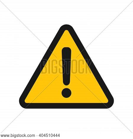 Exclamation Mark Vector Icon. Warning And Caution Yellow Triangle Sign. Danger And Error Logo Symbol
