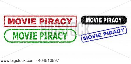 Movie Piracy Grunge Stamps. Flat Vector Grunge Stamps With Movie Piracy Message Inside Different Rec