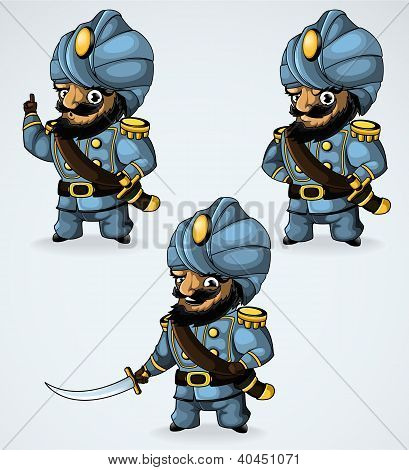 Captain in a turban. In the three positions.