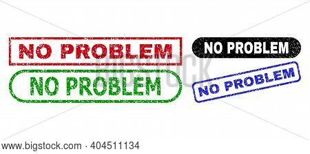 No Problem Grunge Stamps. Flat Vector Grunge Stamps With No Problem Tag Inside Different Rectangle A