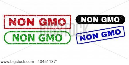 Non Gmo Grunge Watermarks. Flat Vector Grunge Seals With Non Gmo Slogan Inside Different Rectangle A