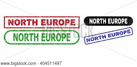 North Europe Grunge Stamps. Flat Vector Grunge Stamps With North Europe Title Inside Different Recta