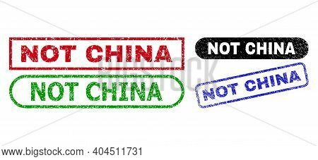 Not China Grunge Seal Stamps. Flat Vector Grunge Stamps With Not China Message Inside Different Rect