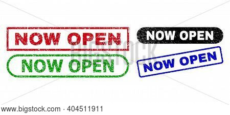 Now Open Grunge Watermarks. Flat Vector Distress Watermarks With Now Open Text Inside Different Rect