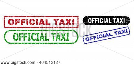 Official Taxi Grunge Stamps. Flat Vector Grunge Watermarks With Official Taxi Phrase Inside Differen