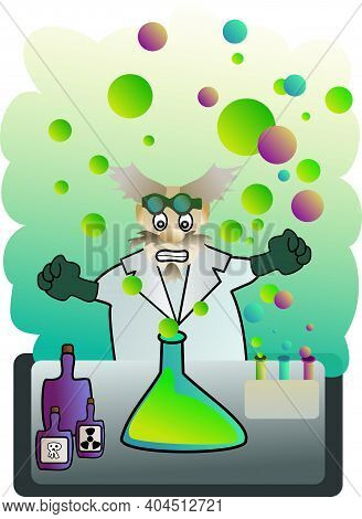 Image Of Mad Scientist Working In The Lab