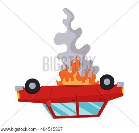 Accident On Road Car Damaged. Road Accident Icon. Car Overturned. Damaged Vehicle Insurance. Damaged