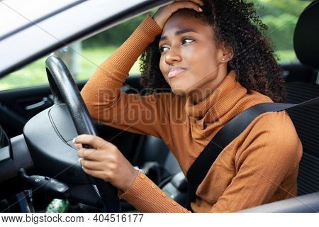 Frustrated Angry Woman Stuck In Traffic Jam