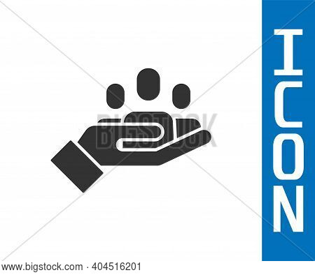 Grey Hand For Search A People Icon Isolated On White Background. Recruitment Or Selection Concept. S