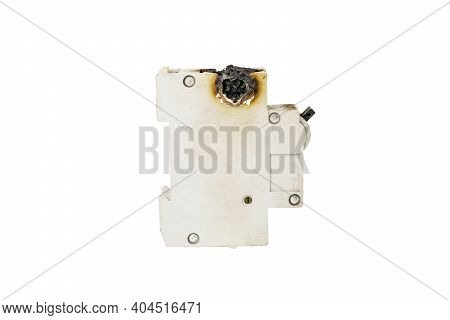 Automatic Fuse Isolated On White Background. Old Blown Fuse.