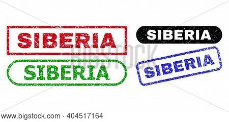Siberia Grunge Seal Stamps. Flat Vector Distress Watermarks With Siberia Caption Inside Different Re