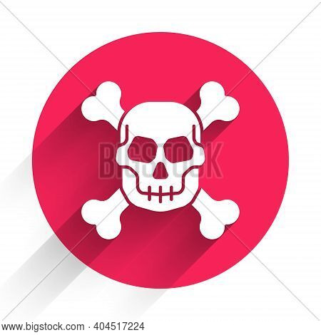 White Skull On Crossbones Icon Isolated With Long Shadow. Happy Halloween Party. Red Circle Button.