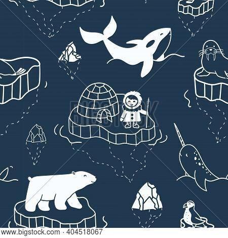 Seamless Pattern With Hand-drawn Illustrations Of Arctic Animals And Eskimo Floating On Iceberg. Sim