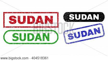 Sudan Grunge Seal Stamps. Flat Vector Scratched Seal Stamps With Sudan Slogan Inside Different Recta