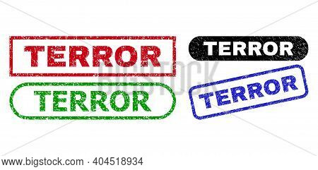 Terror Grunge Seal Stamps. Flat Vector Scratched Seal Stamps With Terror Text Inside Different Recta