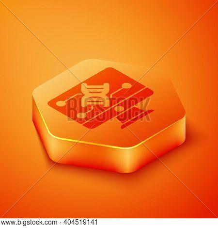 Isometric Genetic Engineering Modification On Monitor Icon Isolated On Orange Background. Dna Analys